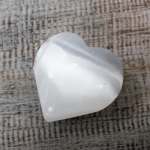 Selenite Crystal Heart - Size: Height 6cm, Lenght 6.5cm Width 2.5cm
