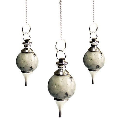 Sphere Pendulums - Rainbow Moonstone Crystal - with chain