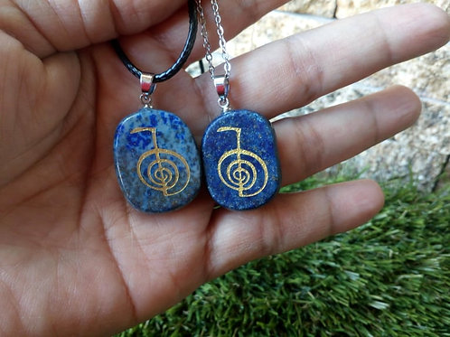 Lapis Lazuli Crystal Pendant with chain