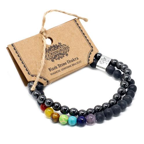 Black Stone Chakra Magnetic Crystal Gemstone Double Bracelet