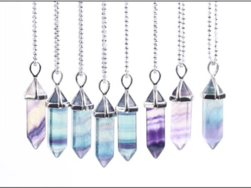 Fluorite crystal pendant with leather necklace
