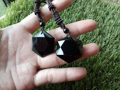 Black Obsidian pendant with rope chain