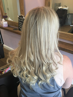 Foils and Curly Blow dry