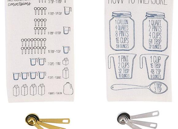 Mud Pie: Measuring Spoon and Towel Set - Brass