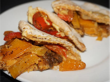 Mushroom and Pepper Pita Wrap