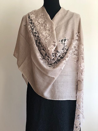 Fine Wool Wrap with Lace Applique