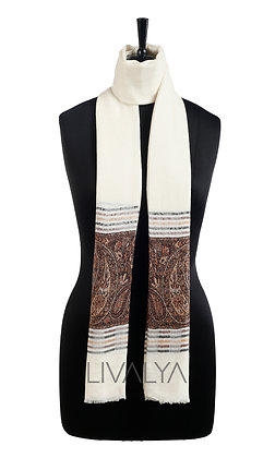 Fine Wool Scarf with Kani Weave Border