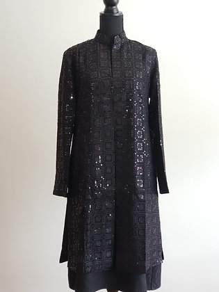 Chikan Embroidery Jacket - Clear Sequins