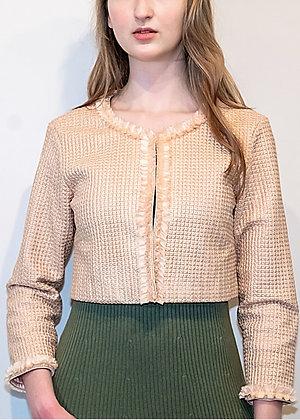 Texture Embroidered Crop Jacket