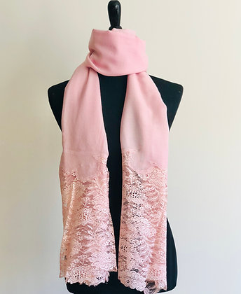Fine Wool Stole with Lace Applique
