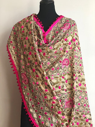 Silk Phulkari Wrap with Kantha Embroidery