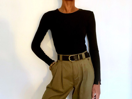 The black long-sleeve top
