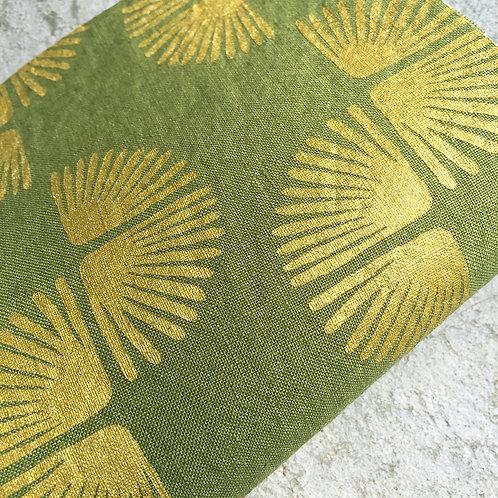 Coupon lin de Normandie vert mousse • Paon or