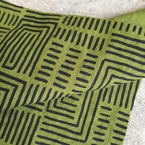 Coupon lin de Normandie vert mousse • Bogolan noir