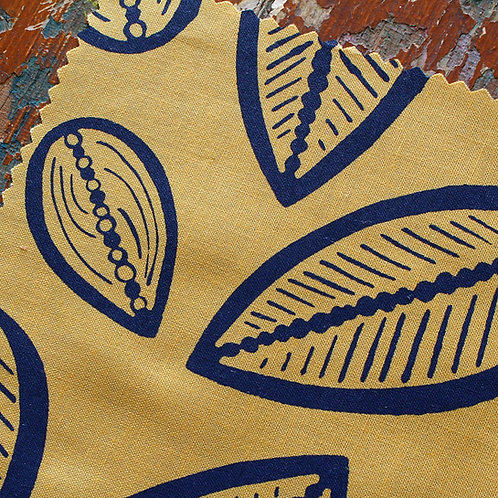 Coupon de popeline de coton biologique GOTS moutarde • Cabosse marine