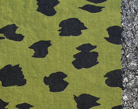 Coupon lin de Normandie vert mousse • Sauvage noir