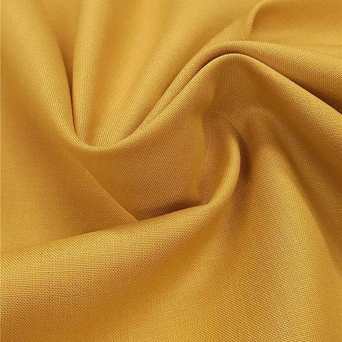 Popeline de coton biologique - Moutarde - Par 25 cm (38€ le mètre)