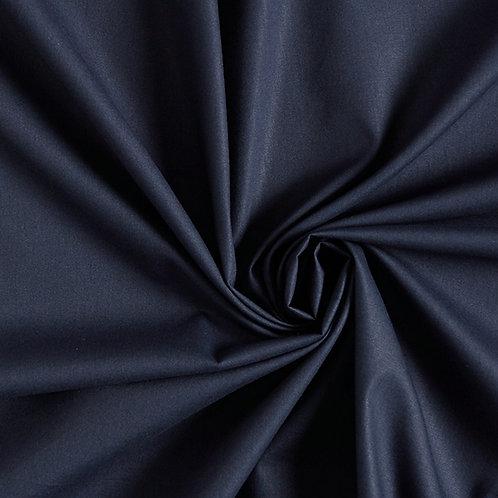 Popeline de coton biologique - Bleu marine - Par 25 cm (38€ le mètre)