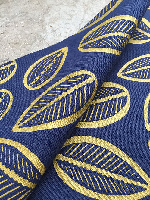 Coupon demi-natté de coton biologique GOTS bleu marine • Cabosse or
