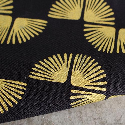 Coupon de demi-natté de coton biologique noir - Imprimé au choix