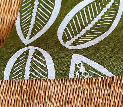 Coupon de lin normand  vert mousse - Imprimé au choix