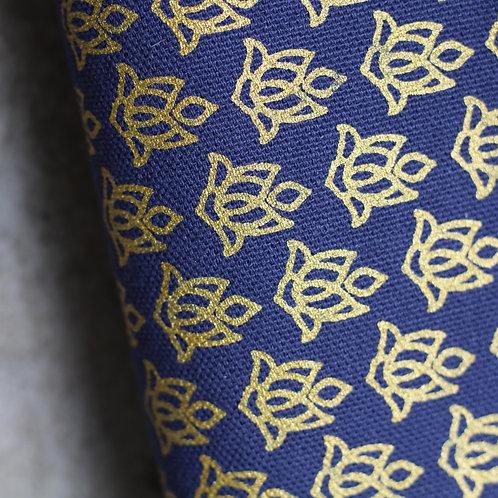 Coupon demi-natté de coton biologique GOTS bleu marine • Lotus or