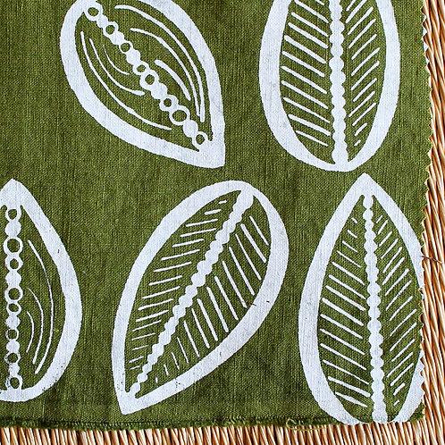 Coupon lin de Normandie vert mousse • Cabosse blanc