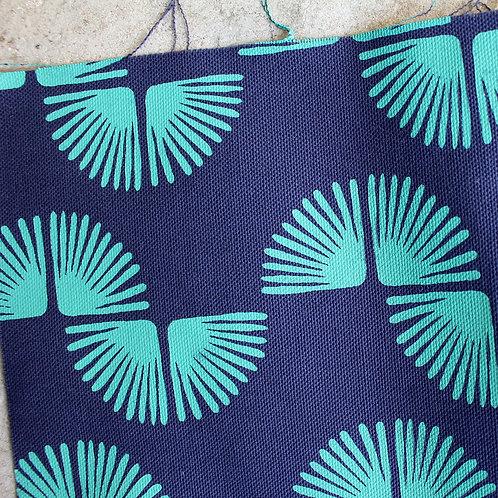 Coupon de demi-natté de coton biologique bleu marine - Imprimé au choix