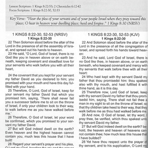 Sunday School Lesson: Solomon's Dedication Prayer