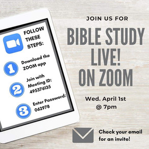 Bible Study Live via Zoom Tonight @7pm!