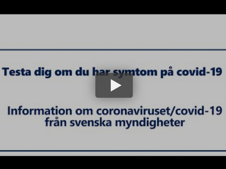 Information från MSB om Covid-19 och testning.