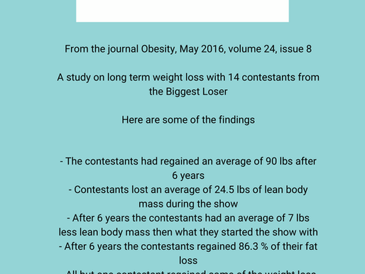 Biggest loser contestants weight & fat regain