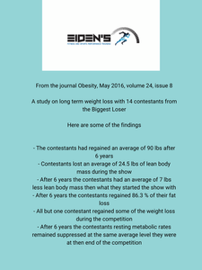 """This study is from a few years ago but it's one of the few studies on long term weight loss. This isn't to provoke a discussion or debate on the show the Biggest Loser but more so to look at the problems that come with any type of rapid weight loss, especially those that focus only on weight loss and not fat loss and educate people on the flaws and pitfalls of any rapid weight loss programs. Anytime you lose a lot of weight in a short period of time there will be a significant loss in lean body mass (muscle). This slows the metabolism as seen by the contestants who 6 years later had suppressed resting metabolic rates. The loss of lean body mass is never desirable when losing body fat and will only increase the chances of weight regain. The loss of lean body mass also makes the person just a smaller version of their previous self with minimal muscle definition. One of the other problems that tends to happen with rapid weight loss is the body fights to get back to the weight it was so accustomed to being at for so long. It's what some call a """"set point theory"""". The only worthwhile weight loss is permanent weight loss and that is not done through flashy, crash diets and programs. Its done through following a complete program with a good, well rounded nutrition program (not drastically slashing calories) as well as following a consistent weight/strength training program aimed at increasing strength and lean muscle while losing body fat and not going by the scale as a measure of progress. The plan should aim to lose body fat on a consistent basis over time. Permanent fat loss is attainable. It just needs to be done correctly."""