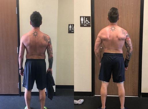 My client Scott's great fat loss & muscle gain progress