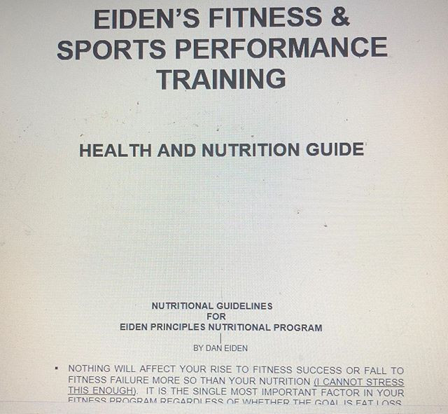 Screen shot of the cover of the Eiden's Fitness Nutrition Guide