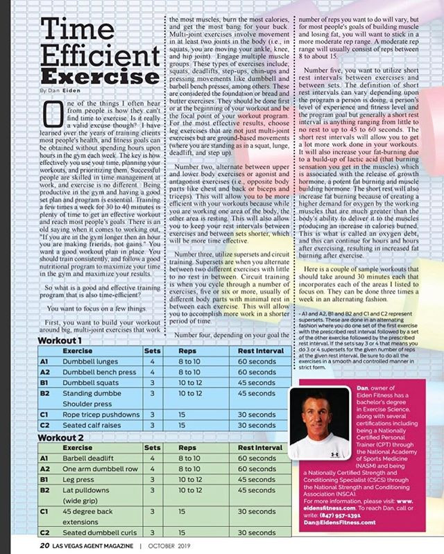 Time Efficient Exercise article from Las Vegas Agent magazine, October 2019