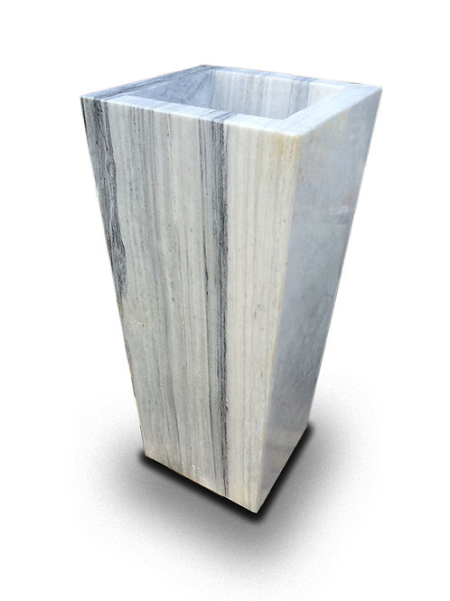 Tall White-Grey Marble Planter, Smooth Finish