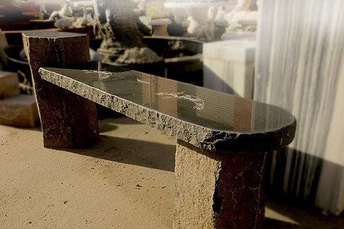 Granite Basalt Black & Rust Koi Bench