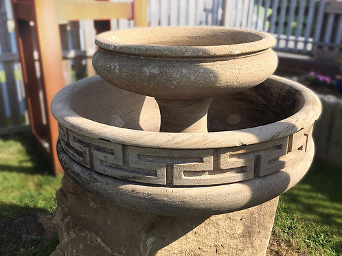 Tier Handmade Grecian Gritstone Bowl with Undressed Sandstone Base