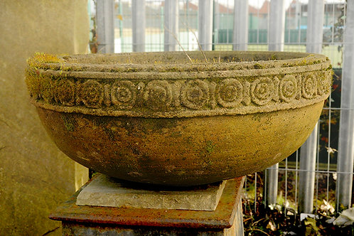 Aged Handmade Gritstone Bowl (1 available)