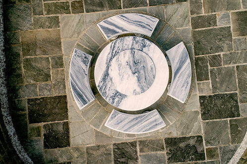 White-Grey Marble Circular Table with Four Curved Benches