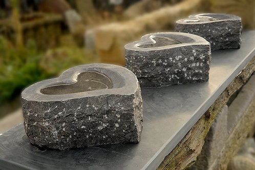 Granite Love Heart Bird Bath