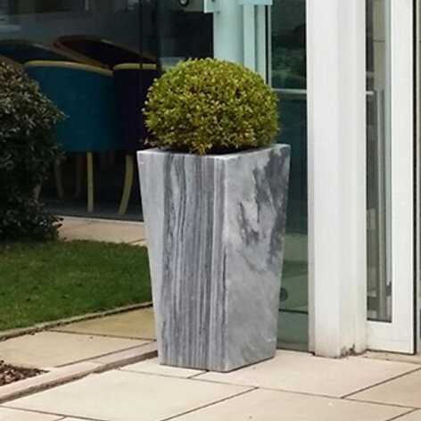 White-Grey Marble Planter, Smooth Finish