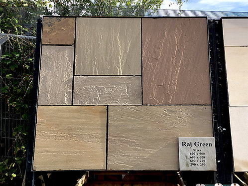 Raj Green Patio Pack, Riven, Chiselled Edge (22mm thick)