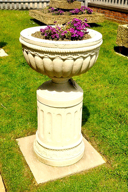 Urn Planter and Base Antique White