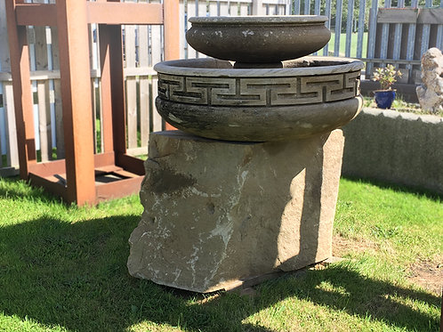 2 Tier Handmade Grecian Gritstone Water Feature on Undress Sandstone Rock Plinth