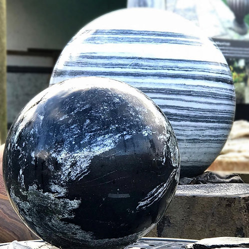 Black Granite Sphere - Bonsai Planets