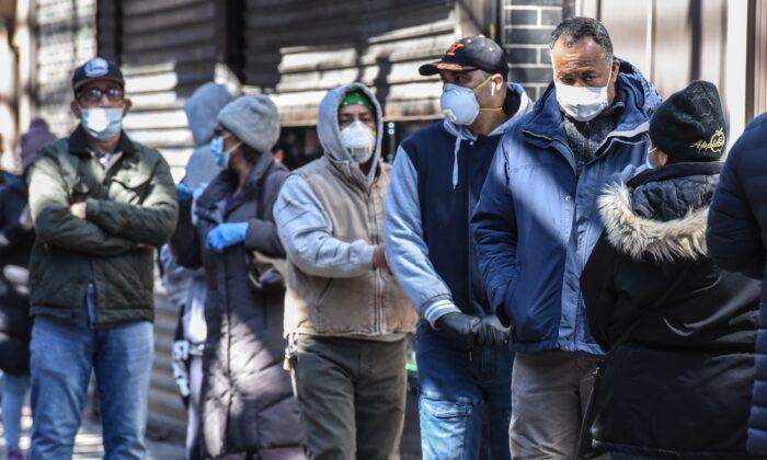 Unemployment Line in New York City.