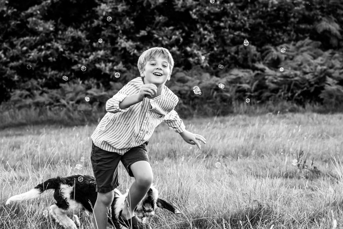 Boy and dog, Haslemere, Surrey