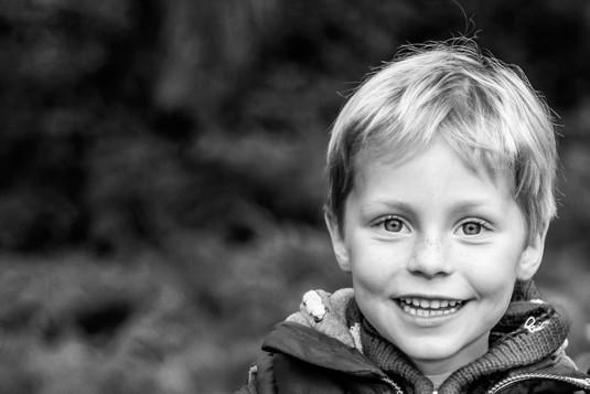 Boy in forest, Surrey